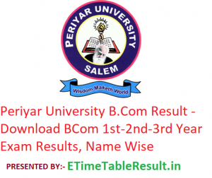 Periyar University B.Com Result 2020 - Download BCom 1st-2nd-3rd Year Exam Results, Name Wise
