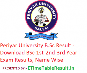 Periyar University B.Sc Result 2020 - Download BSc 1st-2nd-3rd Year Exam Results, Name Wise
