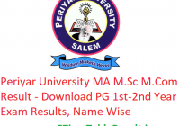 Periyar University MA M.Sc M.Com Result 2020 - Download PG 1st-2nd Year Exam Results, Name Wise