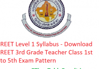 REET Level 1 Syllabus 2020 - Download REET 3rd Grade Teacher Class 1st to 5th Exam Pattern