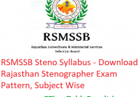 RSMSSB Steno Syllabus 2020 - Download Rajasthan Stenographer Exam Pattern, Subject Wise