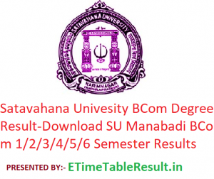 Satavahana University B.Com Degree Result 2020 - Download SU Manabadi BCom 1/2/3/4/5/6 Semester Exam Results, Name Wise