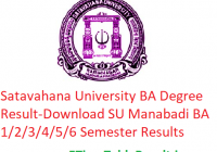 Satavahana University BA Degree Result 2020 - Download SU Manabadi BA 1/2/3/4/5/6 Semester Exam Results, Name Wise