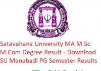 Satavahana University MA M.Sc M.Com Degree Result 2020 - Download SU Manabadi PG 1/2/3/4 Semester Exam Results, Name Wise