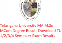 Telangana University MA M.Sc M.Com Degree Result 2020 - Download TU Manabadi PG 1/2/3/4 Semester Exam Results, Name Wise