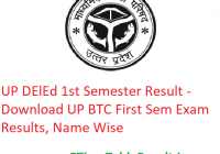 UP DElEd 1st Semester Result 2020 - Download UP BTC First Sem Exam Results, Name Wise
