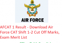 AFCAT 1 Result 2020 - Download Air Force CAT Shift 1-2 Cut Off Marks, Exam Merit List