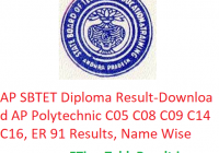 AP SBTET Diploma Result 2020 - Download AP Polytechnic C05, C08, C09, C14, C16, ER 91 Results, Name Wise