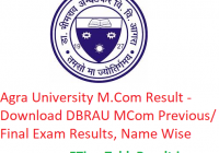 Agra University M.Com Result 2020 - Download DBRAU MCom Previous/Final Exam Results, Name Wise