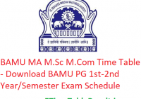 BAMU MA M.Sc M.Com Time Table 2020 - Download BAMU PG 1st-2nd Year/Semester Exam Schedule