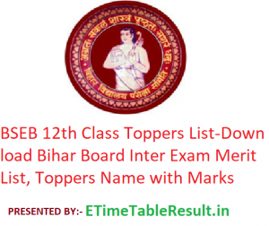 BSEB 12th Class Toppers List 2020 - Download Bihar Board Intermediate Exam Merit List, Toppers Name with Marks