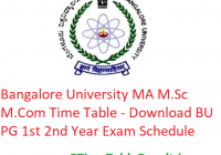 Bangalore University MA M.Sc M.Com Time Table 2020 - Download BU PG 1st 2nd Year Exam Schedule