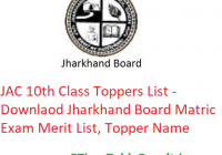 JAC 10th Class Toppers List 2020 - Downlaod Jharkhand Board Matric Exam Merit List, Topper Name with Marks