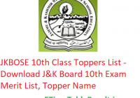 JKBOSE 10th Class Toppers List 2020 - Download J&K Board 10th Exam Merit List, Topper Name