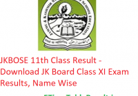 JKBOSE 11th Class Result 2020 - Download JK Board Class XI Exam Results, Name Wise