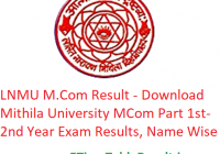 LNMU M.Com Result 2020 - Download Mithila University MCom Part 1st-2nd Year Exam Results, Name Wise