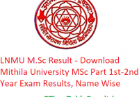 LNMU M.Sc Result 2020 - Download Mithila University MSc Part 1st-2nd Year Exam Results, Name Wise
