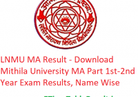 LNMU MA Result 2020 - Download Mithila University MA Part 1st-2nd Year Exam Results, Name Wise