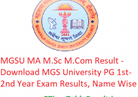 MGSU MA M.Sc M.Com Result 2020 - Download MGS University PG 1st-2nd Year Exam Results, Name Wise