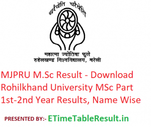 MJPRU M.Sc Result 2020 - Download Rohilkhand University MSc Part 1st-2nd Year Exam Results, Name Wise