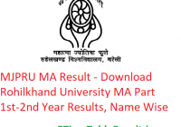 MJPRU MA Result 2020 - Download Rohilkhand University MA Part 1st-2nd Year Exam Results, Name Wise