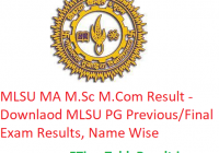 MLSU MA M.Sc M.Com Result 2020 - Downlaod MLS University PG Previous/Final Exam Results, Name Wise