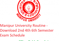 Manipur University Routine 2020 - Download 2nd 4th 6th Semester Exam Schedule