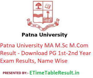 Patna University MA M.Sc M.Com Result 2020 - Download PG 1st-2nd Year Exam Results, Name Wise