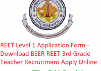 REET Level 1 Application Form 2020 - Download BSER REET 3rd Grade Teacher Recruitment Apply Online