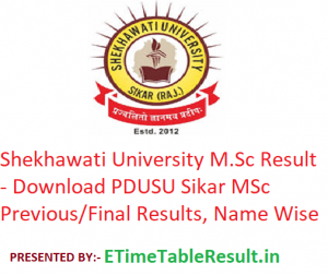 Shekhawati University M.Sc Result 2020 - Download PDUSU Sikar MSc Previous/Final Exam Results, Name Wise