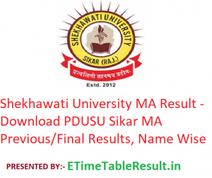 Shekhawati University MA Result 2020 - Download PDUSU Sikar MA Previous/Final Exam Results, Name Wise