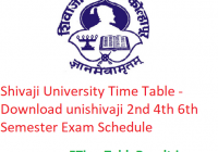 Shivaji University Time Table 2020 - Download unishivaji 2nd 4th 6th Semester Exam Schedule