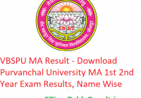 VBSPU MA Result 2020 - Download Purvanchal University MA 1st 2nd Year Exam Results, Name Wise
