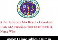 Kota University MA Result 2020 - Download UOK MA Previous/Final Exam Results, Name Wise