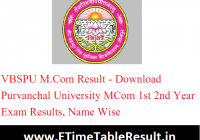 VBSPU M.Com Result 2020 - Download Purvanchal University MCom 1st 2nd Year Exam Results, Name Wise